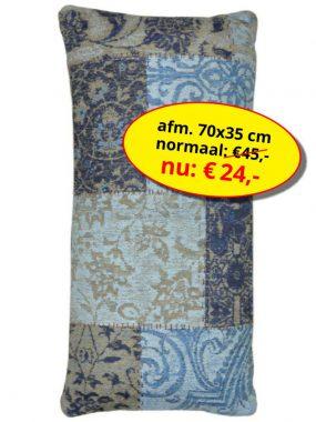 Aanbieding sale -vintage patch goedkoop sierkussen 70x35 cm- Dalyan blauw. Leverbaar in diverse kleuren en maten en verkrijgbaar bij Perez vloerkleden.