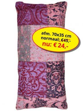 Sale aanbieding -vintage patch sierkussen 70x35- Dalyan paars. Leverbaar in diverse kleuren en maten. Verkrijgbaar bij Perez vloerkleden.