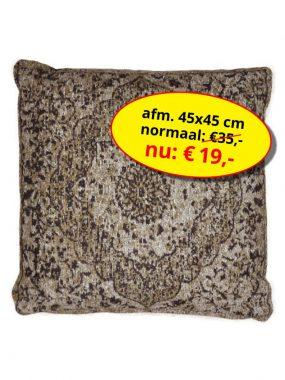 sale aanbieding -goedkoop katoen vintage vierkant sierkussen 45x45 cm- Tabriz bruin. Leverbaar in diverse kleuren en maten, verkrijgbaar bij Perez vloerkleden.