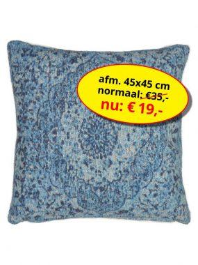 Aanbieding sale -goedkoop katoen vintage vierkant sierkussen 45x45 cm- Tabriz blauw. Leverbaar in diverse kleuren en maten, verkrijgbaar bij Perez vloerkleden.