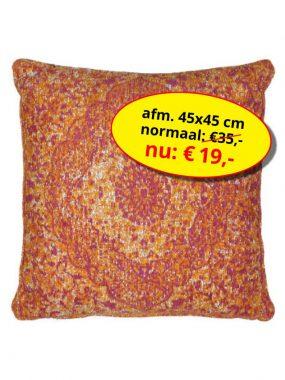 Aanbieding sale -goedkoop katoen vintage vierkant sierkussen 45x45 cm- Tabriz oranje. Leverbaar in diverse maten en kleuren, verkrijgbaar bij Perez vloerkleden.