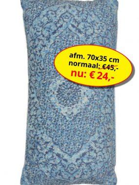 Aanbieding sale -goedkoop katoen vintage sierkussen 70x35 cm- Tabriz blauw. Leverbaar in diverse maten en kleuren, verkrijgbaar bij Perez vloerkleden.