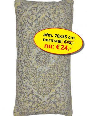 Sale aanbieding -goedkoop vintage sierkussen 70x35 cm- Tabriz geel grijs. Leverbaar in diverse maten en kleuren, verkrijgbaar bij Perez vloerkleden.