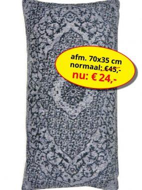 Sale aanbieding -goedkoop vintage sierkussen 70x35 cm- Tabriz grijs zwart. Leverbaar in diverse kleuren en maten, verkrijgbaar bij Perez vloerkleden.