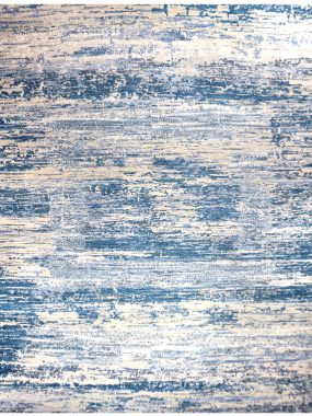 handgeknoopt vloerkleed tapijt Amber in blauw en beige