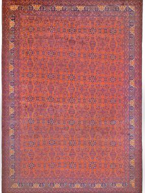 Rood handgeknoopt tapijt is verkrijgbaar bij Perez vloerkleden
