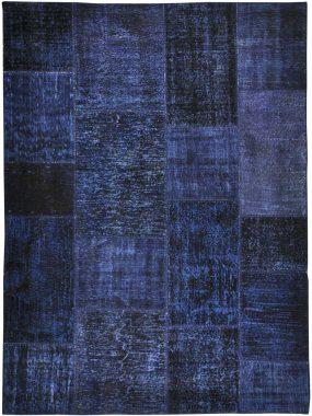 Het -vintage en patch vloerkleed of tapijt- ANKARA blauw is verkrijgbaar in diverse maten en kleuren en te koop bij Perez vloerkleden.