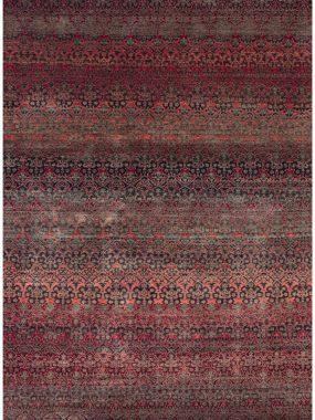 handgeknoopt tapijt Damask zwart en rood. Het vloerkleed is verkrijgbaar bij Perez vloerkleden