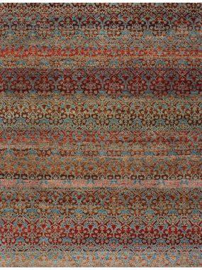 vloerkleed Damask blauw rood is handgeknoopt en verkrijgbaar bij Perez vloerkleden