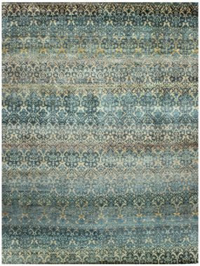 blauw en goud handgemaakt tapijt Damask heeft een oosters design. Het is verkrijgbaar bij Perez vloerkleden.