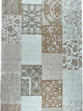 Patch vloerkleed in de kleur turkoise.