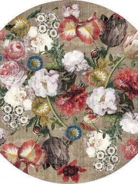 Beige rond vloerkleed met bloemen. Verkrijgbaar in diverse dessins, kleuren en maten.