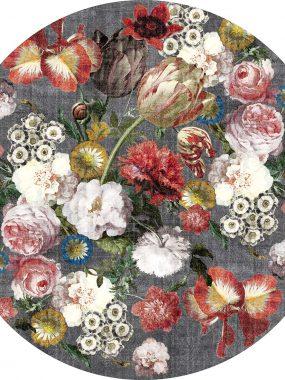 Rond grijs vloerkleed met bloemen is verkrijgbaar in diverse dessins, kleuren en maten. Direct uit eigen voorraad leverbaar.