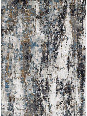 Bovenkant vloerkleed Olympia k1716 zwart beige en blauw. Verkrijgbaar bij Perez vloerkleden