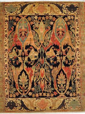 handgeknoopt bidjar tapijt geel beige rood.