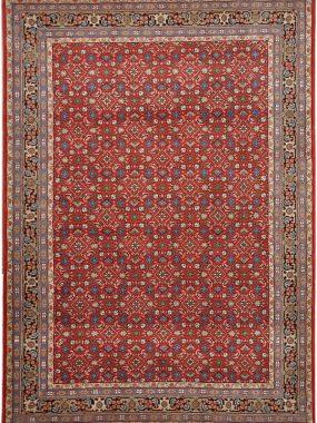 handgeknoopt Herati tapijt rood blauw.