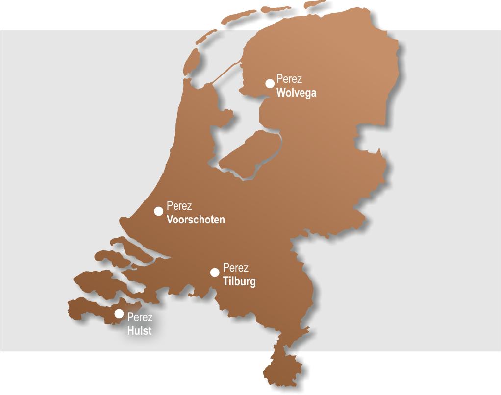 landkaart met Perez vestigingen